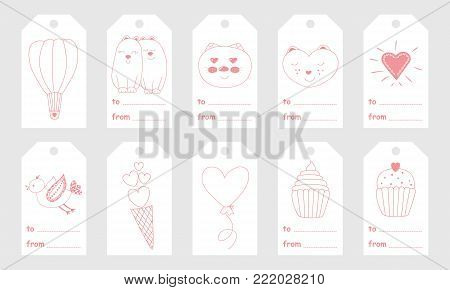 Greeting tags with cute hand drawn elements for Valentine's Day.Set of holiday stamps, tags, badge ,pins, stickers, greeting cards, templates.Vector seasonal design.Heart ,sweets and cute characters