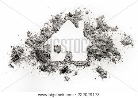 House or home silhouette drawing in ash or dust as natural disaster, fire catastrophe, terrorist attack or war damage concept, accident insurance, fear and danger background