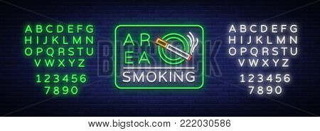 Smoking area is a vector neon sign. Neon symbol, a luminous sign is a place for smoking. Bright sign, luminous banner. Editing text neon sign. Neon alphabet.