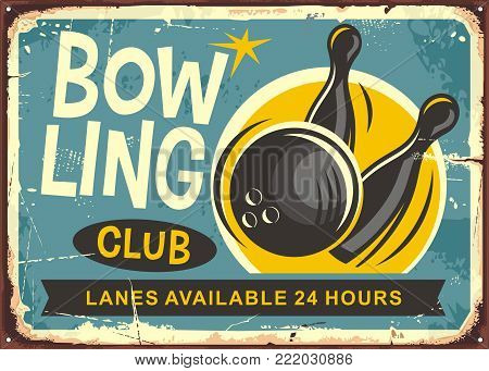 Bowling club retro poster design with bowling ball hits the skittles