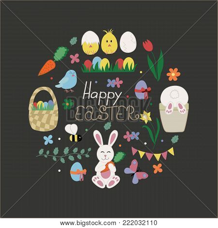 Happy Easter card with traditional celebration symbols. Such as bunny, basket, flowers, eggs, chickens, birds, butterfly and other elements. Easter background in cute and childish hand drawn style.