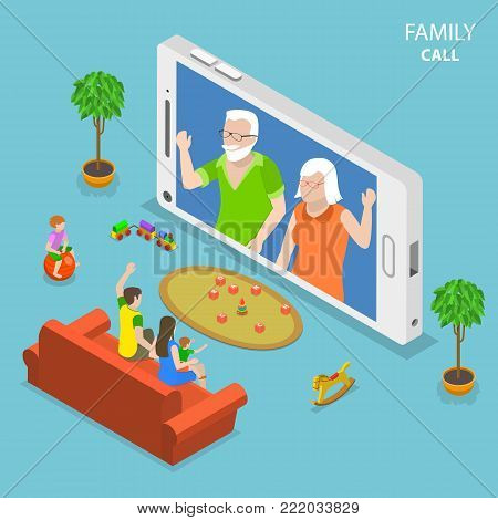 Family call flat isometric vector concept. Young family with 2 kids are having video call with thair parents using the smartphone.