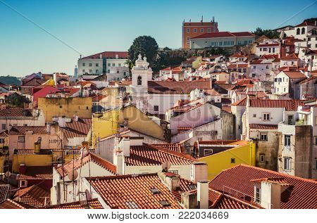 View from Lisbon typical neighborhood Alfama in a sunny day
