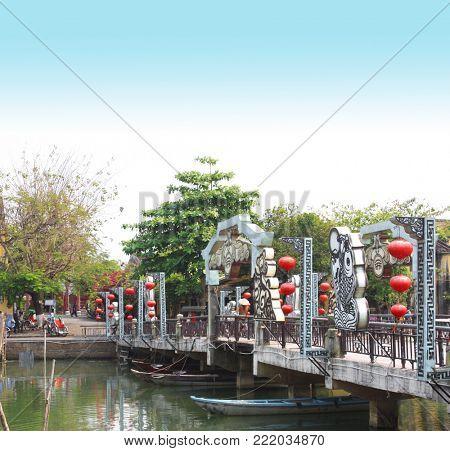 Pedestrian bridge across the Thu Bon river, Hoi An, Vietnam, Indochina