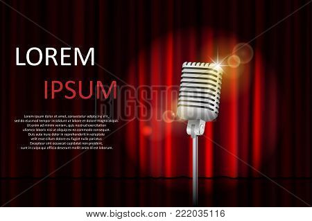 Theater stage with red curtain and spotlight with space for text. Poster for concert, party, theater, circus or cinema background. vector illustration EPS 10