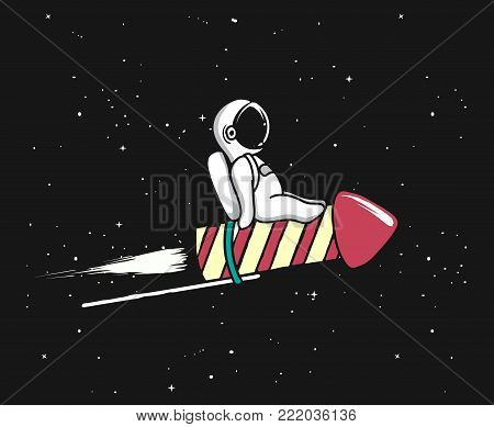 Baby spaceman flying on firework rocket to space.Character design.Childish vector illustration