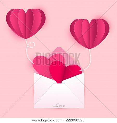 Vector illustration for Valentines day, Open envelope with heart shaped cards are tied with heart shaped balloons on sweet pink background.