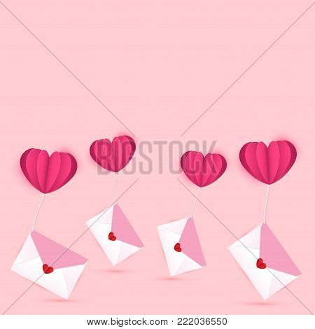 Vector illustration for Valentines day. Envelopes with heart shaped sticker as love letters are tied with heart shaped balloons on sweet pink background.