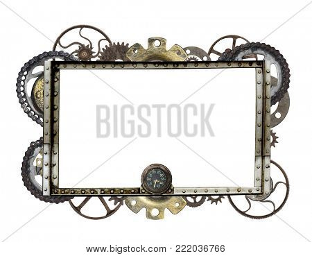 Metallic frame with vintage machine gears and cogwheel. Isolated on white background. Mock up template. Can be used for steampunk and mechanical design
