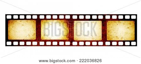 Retro filmstrip with four frame on film and grunge paper texture. Object isolated on white background. Mock up template for vintage design. Copy space for you text