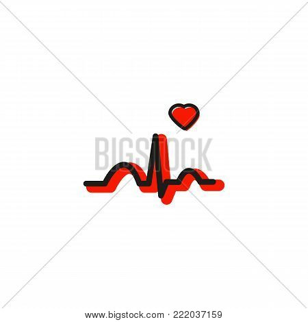Medical diagnostic icon with ECG and heart in modern line style. Red electrocardiography. Vector