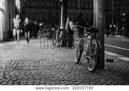 A stroll through the streets of Amsterdam in the evening. Black and white art monochrome photography. Black and white creative photography. Black and white conceptual image. Beautiful black and white background.