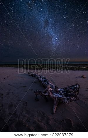 Milky way over a tropical beach in Madagascar