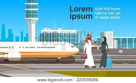 Arabic Man And Woman Over Modern Airport Background Arab Business People Couple Travel Flat Vector Illustration