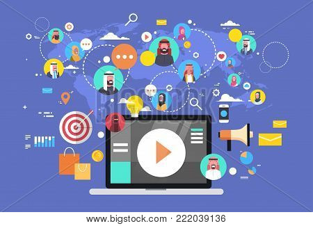 Social Media Communication Icons With Muslim People Connections Over World Map Background Laptop Computer Flat Vector Illustration