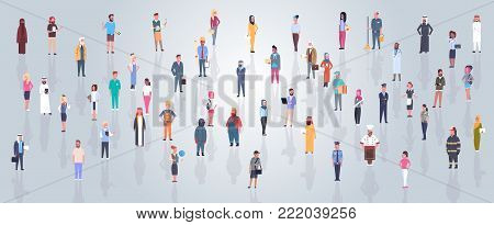 Group Of Arabic People Wearing Traditional Clothes Full Length Arab Business Man And Woman Crowd, Muslim Male And Female Flat Vector Illustration