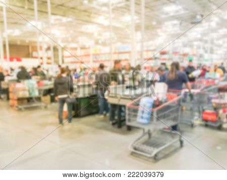 Blurred Long Queue At Wholesale Store Checkout Counter In Irving, Texas