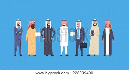 Arabic Business Men Group Full Length Arab Businessmen Wearing Traditional Clothes, Muslim Male Crowd Flat Vector Illustration