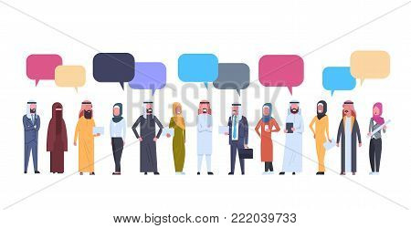 Arabic Men And Women Group With Chat Bubbles Over White Background Full Length Arab Business Male And Female Wearing Traditional Clothes Flat Vector Illustration