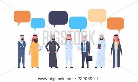 Arabic Men Group With Chat Bubbles Over White Background Full Length Arab Business Male Wearing Traditional Clothes Flat Vector Illustration