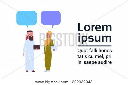 Arabic Man And Woman Chat Bubble Communication Concept Full Length Arab Male And Female Wearing Traditional Clothes Flat Vector Illustration