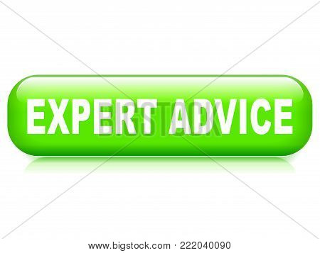 Illustration of expert advice button on white background