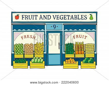 Fruit and vegetables shop front vector illustration on hand drawn style. Colorful doodle of the front of grocery store.