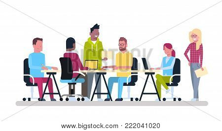 Group Of Young Business People Working Together Sit At Office Desk Coworking Mix Race Creative Workers Team Brainstorming Meeting Flat Vector Illustration