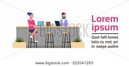 Young People Working On Computers Sitting At Counter Desk At Modern Coworking Space Modern Coworkers Center Concept Flat Vector Illustration