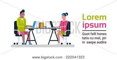 Young People Working On Computers Sitting At Desk At Coworking Space Modern Coworkers Center Concept Flat Vector Illustration
