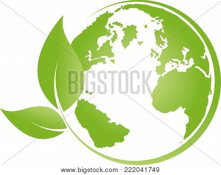 Globe and leaves, colored, globe and ecology logo