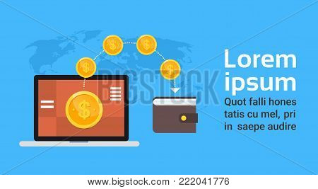 Mobile Wallet Technology Digital Money Transaction And E-commerce Concept World Map Background Template Copy Space Flat Vector Illustration