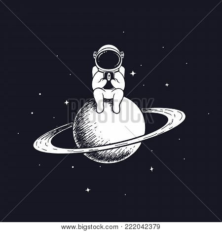 astronaut keeps smartphone.Spaceman sits on Saturn and play with mobile phone.Prints vector design.