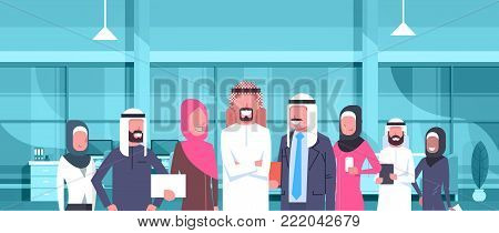 Arab Businessman Boss With Team Of Arabic Business People In Modern Office Wearing Traditional Clothes Arab Employees Workers Flat Vector Illustration