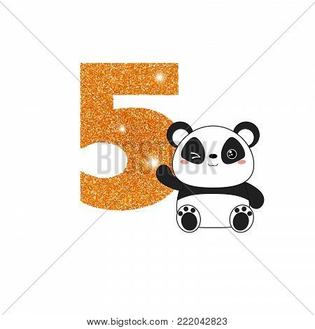 Gold glittering number five. Birthday anniversary number with cute panda. Birthday template with panda for greeting cards, invitations.