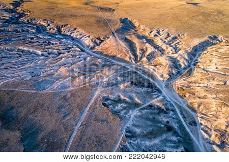 Main Draw OHV Area in Pawnee National Grasslland in northern Colorado, fall or winter scenery, aerial view