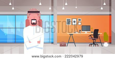 Arabic Business Man In Modern Office Wearing Traditional Clothes Arab Businessman Worker Flat Vector Illustration