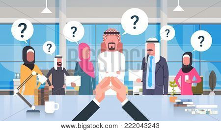 Businessman Boss Looking At Brainstorming Business Team Of Arab People With Questiion Mark Sitting At Desk, Leader With Group Of Saudi Businesspeople In Modern Office Flat Vector Illustration