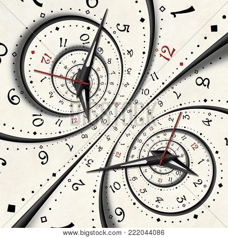 Abstract Modern white surreal spiral clock fractal concept clock hands. Twisted clocks watch unusual abstract pattern background. High resolution clock spiral fashionable clock Time spiral effect