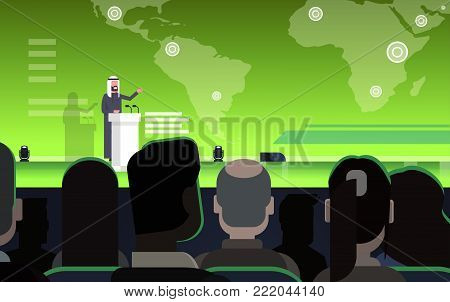 Business Conference With Arab Businessman Or Politician Talking From Tribune Over World Map Arabian Speaker On International Meeting Flat Vector Illustration