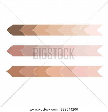 skin tone color infographic. Dark to light chart tones vector illustration.