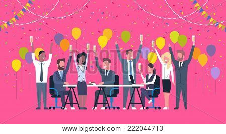 Group Of Cheerful Diverse Business People Celebration Success Happy Mix Race Team Hold Raised Hands Sitting At Decorated Office Desk Flat Vector Illustration