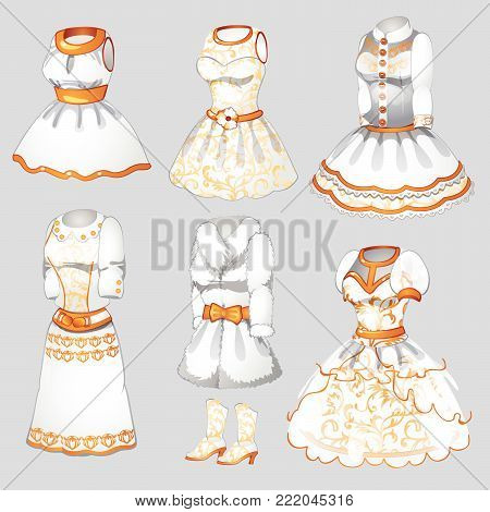 A set of white dresses and fur in retro style. Cartoon vector illustration close-up.