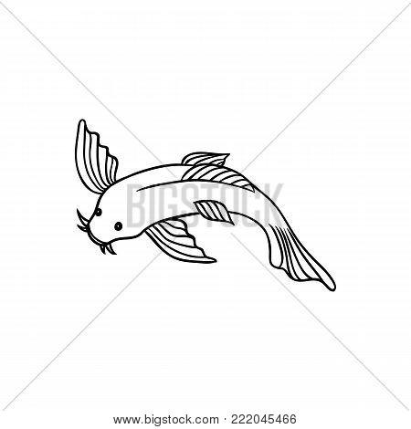 Japanese, Asian koi carp, goldfish, fish, top view flat style cartoon vector illustration isolated on white background. Japanese koi carp, fish drawing