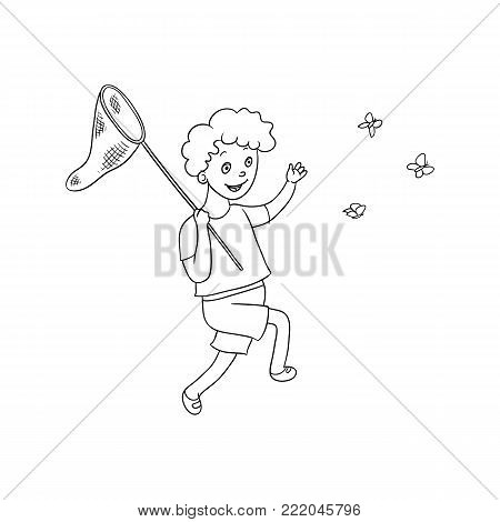 Full length portrait of boy, kid running and catching butterflies with net, flat cartoon vector illustration isolated on white background. Happy teenage boy catching butterflies with a butterfly net