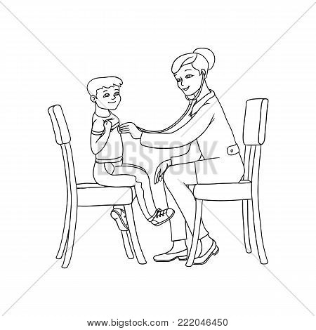 vector flat cartoon female doctor with stethoscope examining teen boy kid lungs sitting at chairs. Woman pediatrician in medical clothing and child. Isolated illustration on a white background.