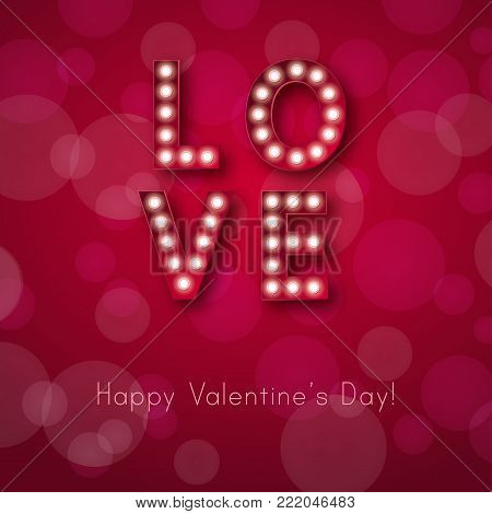 Retro light sign. Banner lights, the word Love on red background. Design element for Happy Valentine's Day. Ready for your design, greeting card, banner. Vector illustration