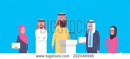 Group Of Arab Business People Speakers On Conference Meeting Or Presentation, Team Of Arabian Businesspeople Of Politicians Candidates Flat Vector Illustration