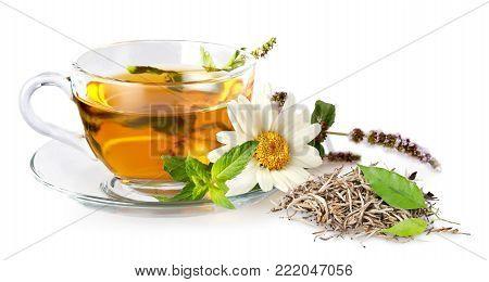Glass tea cup background vitality joy fresh