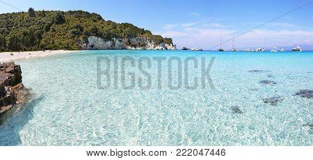 panoramic lanscape of Voutoumi beach Antipaxos island Greece